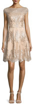 Kay Unger New York Cap-Sleeve Metallic Lace Fit-and-Flare Dress, Mocha