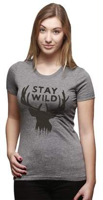 Crazy Dog Funny T Shirts Womens Stay Wild Outdoors Camping Wildlife Deer Antlers T shirt