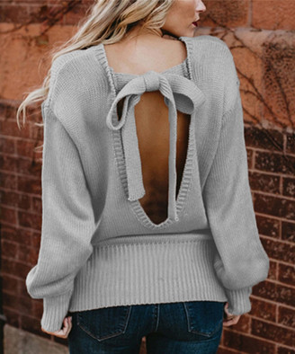 Red Velvet Women's Pullover Sweaters GREY - Gray Tie-Accent Knit Open-Back Sweater - Women