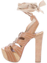 Alaia Straw Woven-Trimmed Platform Sandals
