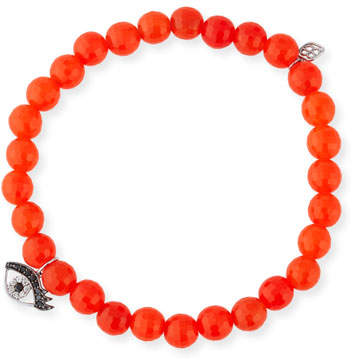 Sydney Evan 6mm Beaded Bright Orange Agate Bracelet with Diamond Eyelash Charm