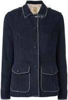 Fay stitched detail jacket - women - Cotton/Leather/Viscose - M