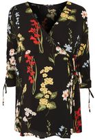 Topshop Maternity floral ruched sleeve wrap blouse