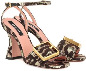 Rochas Leopard-brocade sandals