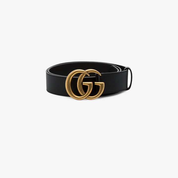 Gucci black GG Marmont leather belt