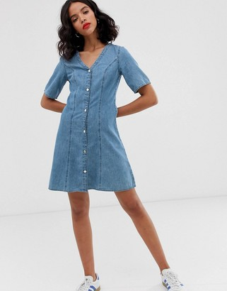 Monki denim v-neck short sleeve mini dress in blue