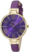SO&CO New York Women's 5091.2 Slim Purple Crystal Accent Leather Strap Watch