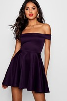 boohoo Tamsin Off The Shoulder Skater Dress