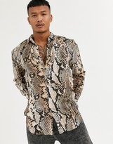 SikSilk long sleeve shirt in snakeskin print