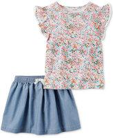 Carter's 2-Pc. Flutter-Sleeve Top & Skirt Set, Toddler Girls (2T-5T)