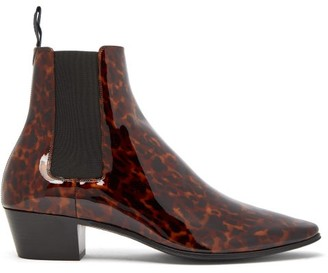 Saint Laurent Dylan Tortoiseshell Patent-leather Chelsea Boots - Black Brown