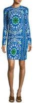 Tory Burch Walker Long-Sleeve Printed Sheath Dress, Blue