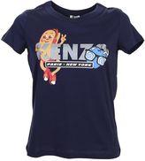 Kenzo Blue Cotton T-shirt With Print Logo Cartoon