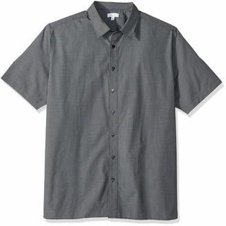 Calvin Klein Men's Big and Tall Short Sleeve Button Down Check Shirt