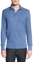 Tom Ford Textured-Rib Long-Sleeve Polo Shirt, Blue