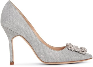 Manolo Blahnik Hangisi 105 silver glitter pumps