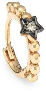 Kismet By Milka Diamond & 14K Rose Gold Star Hoop Single Earring