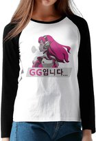 Loneki Women's Over Watch D.Va GG Spray Baseball Raglan T-Shirts