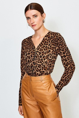Karen Millen V Neck Animal Print Cardigan