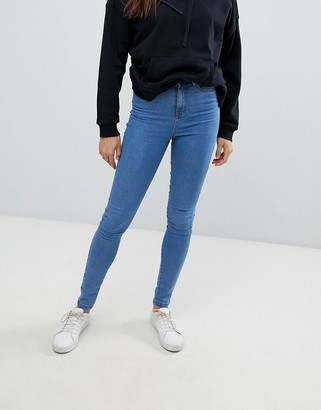 Noisy May ankle length high waist skinny jeans in blue