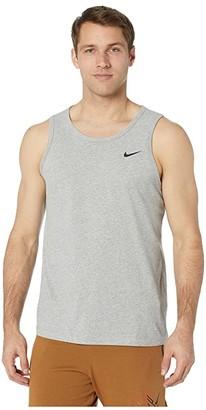 Nike Dry Tank Dri-FITtm Cotton Solid (Dark Grey Heather/White) Men's Sleeveless