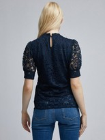 Dorothy Perkins Lace Puff Sleeve Top - Navy