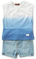 7 For All Mankind Baby Girls 12-24 Months Tie-Dye Short-Sleeve Tee & Denim Shorts Set