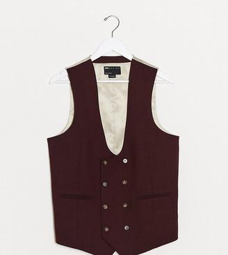 ASOS DESIGN Tall wedding super skinny wool mix suit waistcoat in burgundy