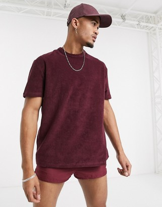 Asos Design DESIGN relaxed t-shirt in towelling in burgundy-Red