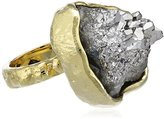Bex Rox 24ct Yellow Gold Plated Dyed Drusy Grey Quartz Mara Ring - Size M