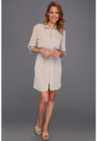 Kenneth Cole New York - Tamara Zip Front Collared Shirt Dress (Sandstone) - Apparel