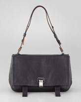 Proenza Schouler Courier Leather Satchel Bag, Blue/Black