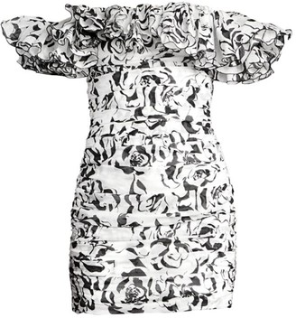 Alexandre Vauthier Graphic Floral Cotton Voile Off-The-Shoulder Mini Dress