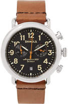Shinola The Runwell 41mm Stainless Steel And Leather Chronograph Watch - Brown