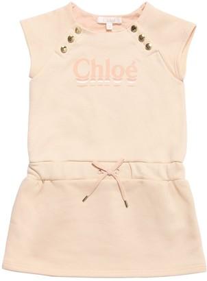Chloé Logo Print Cotton Sweater Dress