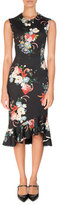 Erdem Floral-Print Sleeveless Neoprene Flounce Dress, Black