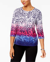 Alfred Dunner Royal Jewels Printed Stud-Embellished Top