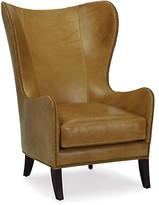 Prescott Wingback Chair - Scotch Leather - Massoud - frame, espresso; upholstery, scotch; hardware, antiqued bronze