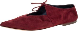 Celine Burgundy Suede V Neck Tie Up Flats Size 37.5