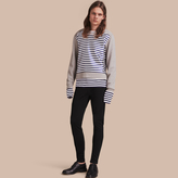 Burberry Unisex Brushed-back Jersey Sweatshirt with Striped Silk Cotton Panel