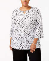 JM Collection Plus Size Printed Textured Tunic, Created for Macy's