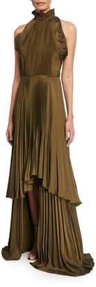Tiffany & Co. flor et.al Pleated Charmeuse High-Neck Sleeveless Gown