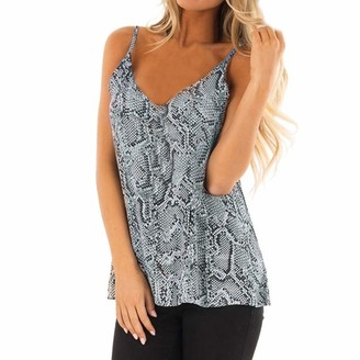 Toamen Women's Tops Toamen Womens Camisole Tops Sale Clearance 2019 New Ladies V-Neck Sleeveless Serpentine Printing Vest T-Shirt Blouse(Gray 16)