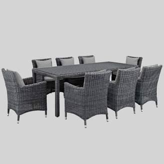 Modway Summon 9pc Outdoor Dining Set with Sunbrella Fabric