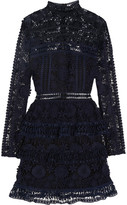 Self-Portrait Ava Guipure Lace Mini Dress - Midnight blue