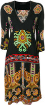 Etro patterned V-neck dress - women - Polyester/Viscose - 40