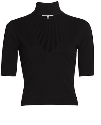 Frame Silk-Blend Cut-Out Short-Sleeve Sweater