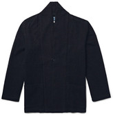 Blue Blue Japan Shawl-Collar Open-Knit Cotton Jacket