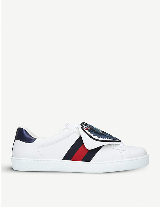 Gucci New Ace wolf-patch leather trainers