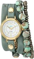 La Mer Women's Quartz Metal and Leather Casual Watch, Color:Green (Model: LAMERDEL1011)